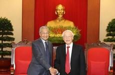 Le SG du Parti communiste et président du Vietnam reçoit le PM malaisien