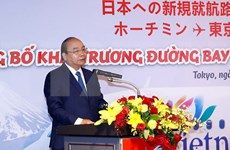 Nguyen Xuan Phuc à la cérémonie de publication de deux nouvelles lignes de Vietjet Air vers le Japon