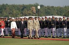 La cérémonie d'accueil officielle du Premier ministre Nguyen Xuan Phuc à Nay Pyi Taw