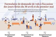 Formulaire de demande de vols à l'occasion des jours fériés du 30 avril et du premier mai