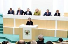 La présidente de l'AN assiste à une séance plénière de la Chambre haute russe