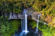 Magnifique beauté de la cascade Hang En