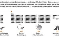 Les compagnies aériennes vietnamiennes ont servi 71,4 millions de passagers en 2018