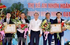 Le PM assiste à la cérémonie de reconnaissance de la Nouvelle ruralité à Binh Dinh