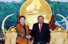 La présidente de l'AN Nguyen Thi Kim Ngan termine sa visite au Laos