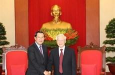 Le dirigeant Nguyen Phu Trong reçoit le Premier ministre cambodgien Hun Sen