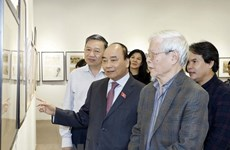 Le Premier ministre visite l'exposition du peintre Ngô Manh Lân