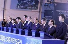 Le Premier ministre assiste à la cérémonie de mise en chantier de la ville intelligente à Busan