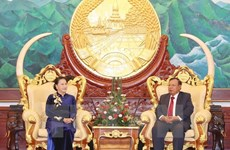 La présidente de l'AN rencontre le secrétaire général du PPRL et président laotien
