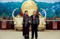 Des dirigeants laotiens reçoivent une délégation de l'AN du Vietnam