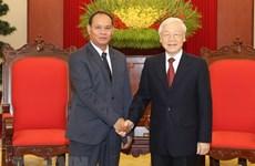 Le secrétaire général et président Nguyên Phu Trong se félicite de l'essor des liens avec le Laos
