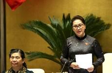 La présidente de l'AN demande au gouvernement d'appliquer efficacement les résolutions de l'AN
