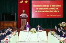 Quang Tri: la présidente de l'AN travaille avec la Permanence du Comité du Parti