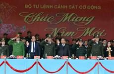 Le PM inspecte l'état de préparation au combat de la police mobile