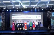 Valorisation des 100 meilleures entreprises où travailler au Vietnam en 2020
