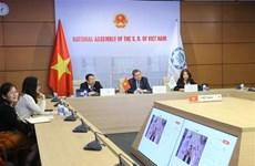 Des parlementaires vietnamiens à une session en ligne extraordinaire du Conseil directeur de l'UIP