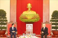 Le leader du PCV reçoit le président de l'AN sud-coréenne en visite officielle au Vietnam