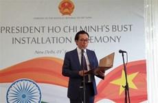 Cérémonie de pose d'un buste du Président Ho Chi Minh à New Delhi