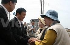 Truong Tan Sang rend visite à des sinistrés au Japon