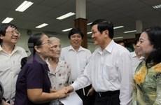 Truong Tan Sang rencontre des électeurs de HCM-Ville