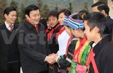 Le président Truong Tan Sang en tournée à Ha Giang