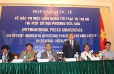 Conférence de presse internationale sur les incidents survenus dans certaines localités