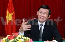 Pour l'indépendance, la liberté et l'intégrité territoriale du pays, par Truong Tân Sang