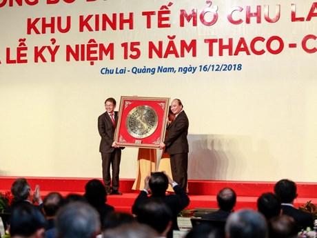 Le PM à une cérémonie des 15 ans du constructeur automobile Thaco-Chu Lai