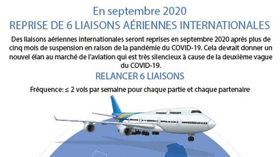 Reprise de 6 liaisons aériennes internationales en septembre