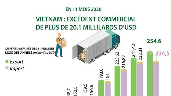 Vietnam : excédent commercial de plus de 20,1  milliards d'USD en onze mois 2020
