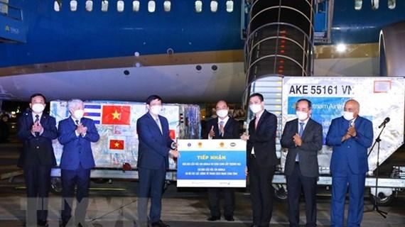Le président Nguyen Xuan Phuc à la cérémonie de remise des vaccins après sa tournée à l'étranger