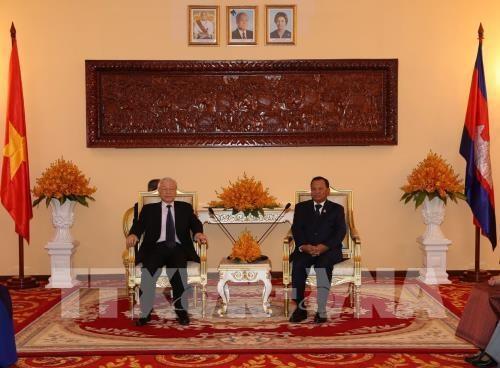 Les activites du secretaire general du PCV et president Nguyen Phu Trong au Cambodge hinh anh 1