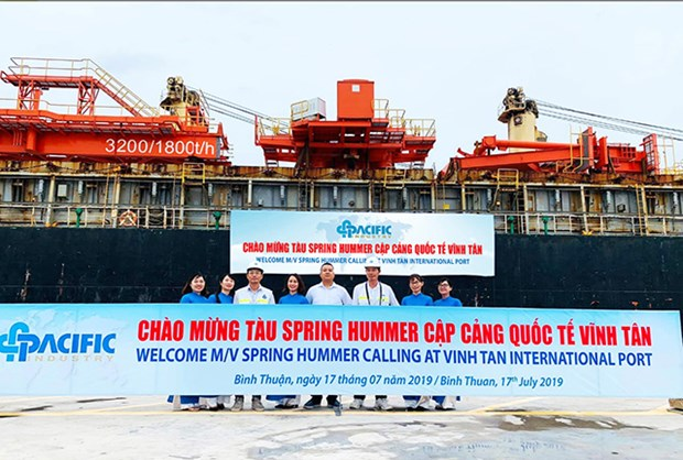Le port international de Vinh Tan accueille le premier navire etranger hinh anh 1