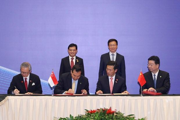 Singapour et la Chine signent neuf accords de cooperation hinh anh 1