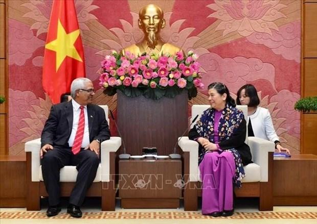 La vice-presidente permanente de l'AN Tong Thi Phong recoit le ministre cubain de la Justice hinh anh 1