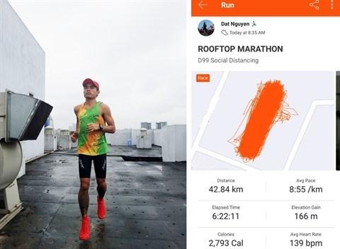 Il court un marathon sur… le toit de son immeuble hinh anh 1