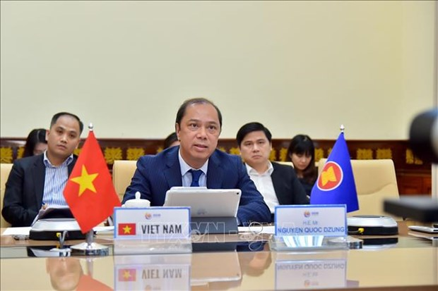 Videoconference de hauts officiels de l'ASEAN hinh anh 1