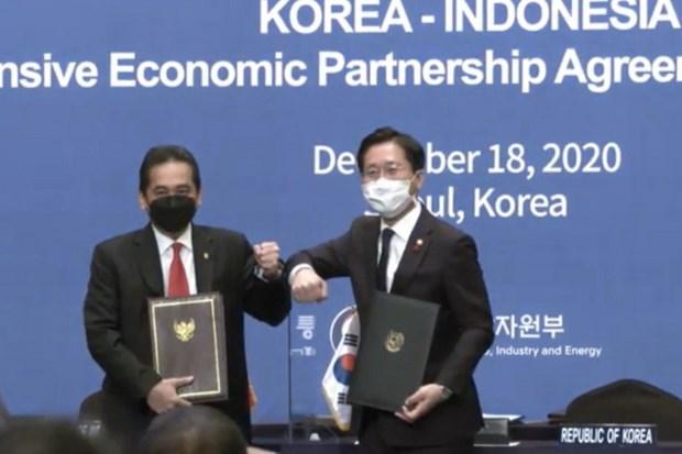 L'Indonesie et la R. de Coree signent l'accord de partenariat economique global hinh anh 1