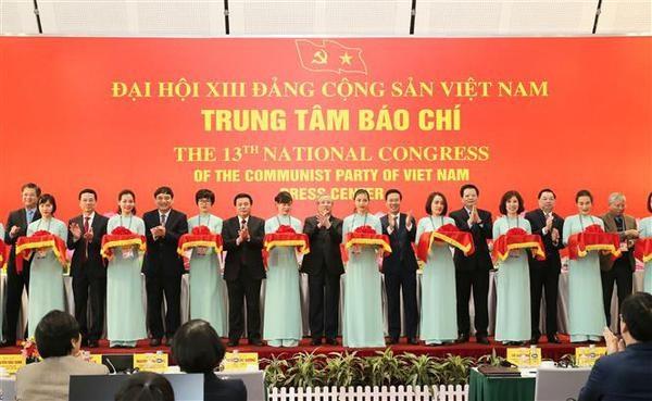 Inauguration du Centre de presse du 13e Congres national du Parti hinh anh 1