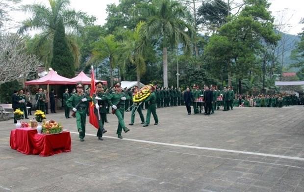 Ha Giang : inhumation des restes de 11 soldats au cimetiere des morts pour la Patrie de Vi Xuyen hinh anh 1