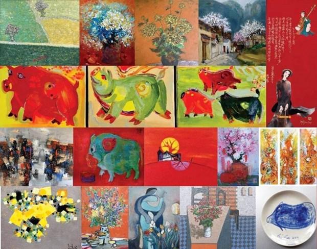 Une exposition sur le theme du cochon attire les amateurs d'art a Hanoi hinh anh 1