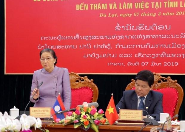 La presidente de l'AN laotienne en visite de travail a Lam Dong hinh anh 1