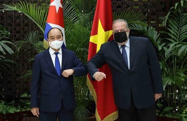 Entrevue entre le president vietnamien et le Premier ministre cubain hinh anh 1
