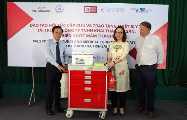 Don des chariots medicaux a l'hopital de la province de Kien Giang hinh anh 1