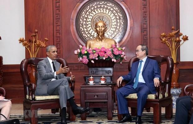 Le secretaire du Comite du Parti de HCM-Ville recoit l'ancien president americain Barack Obama hinh anh 1