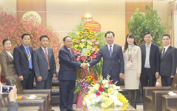 Une delegation laotienne formule des vœux du Tet a Thai Nguyen hinh anh 1