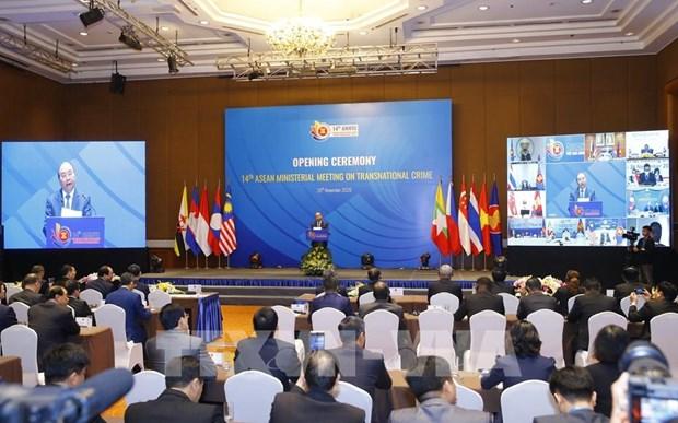 Le PM assiste a une reunion virtuelle de l'ASEAN sur la lutte contre la criminalite transnationale hinh anh 1