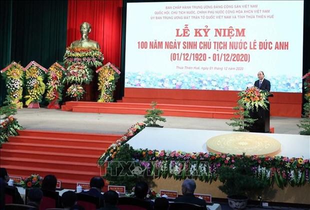 Le centenaire de la naissance du president Le Duc Anh celebre a Hue hinh anh 1