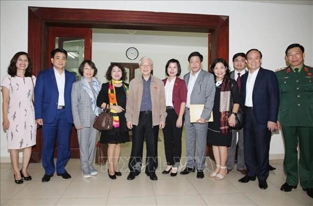 Le SG du Parti et president Nguyen Phu Trong rencontre des electeurs de Hanoi hinh anh 1