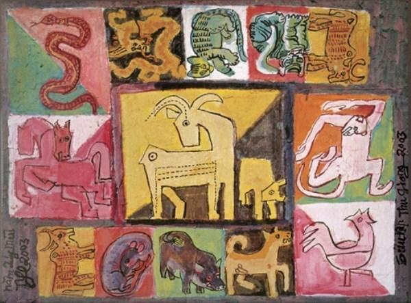 La peinture des 12 signes du zodiaque vietnamien dans la vie contemporaine hinh anh 3